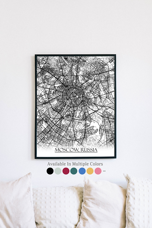Print of Moscow, Russia and all its roads