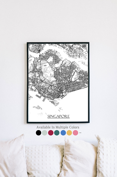 Print of Singapore and all its roads