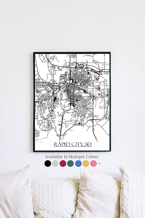Print of Rapid City, SD and all its roads