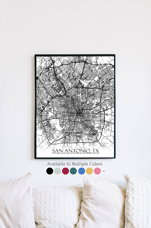 Print of San Antonio, CA and all its roads