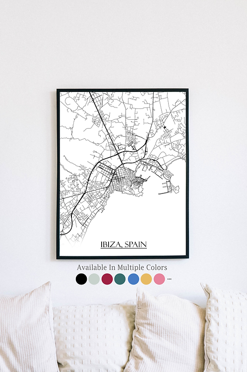Print of Ibiza, Spain and all its roads