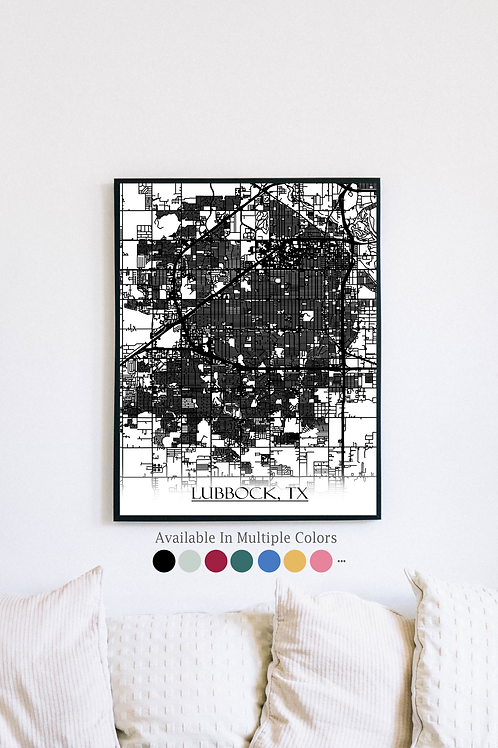 Print of Lubbock, TX and all its roads