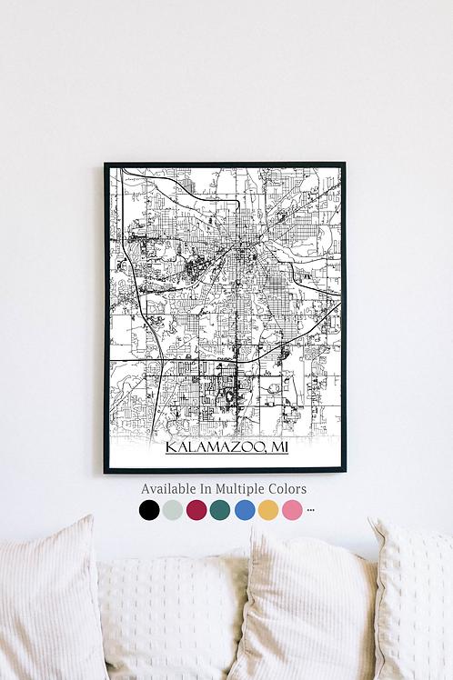 Print of Kalamazoo, MI and all its roads