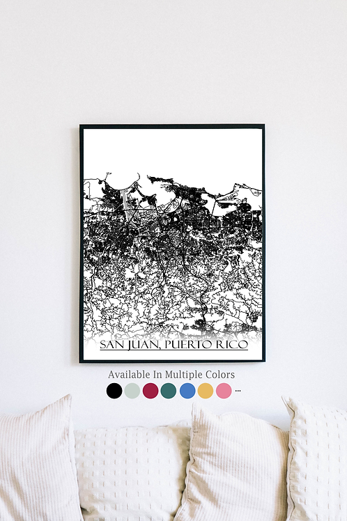Print of San Juan, Puerto Rico and all its roads