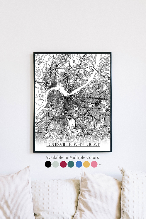 Print of Louisville, Kentucky and all its roads