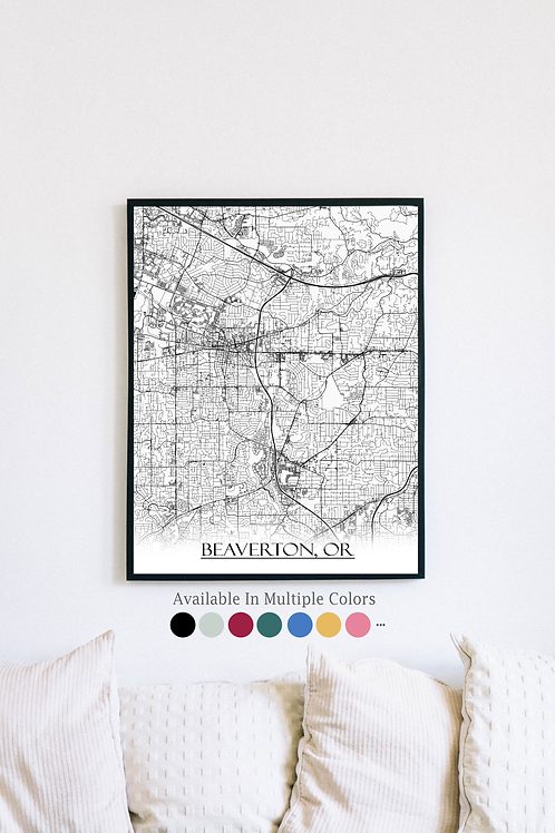 Print of Beaverton, OR and all its roads