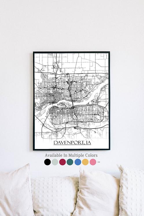 Print of Davenport, IA and all its roads