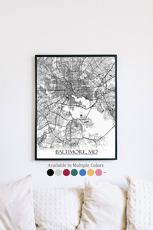 Print of Baltimore, MB and all its roads