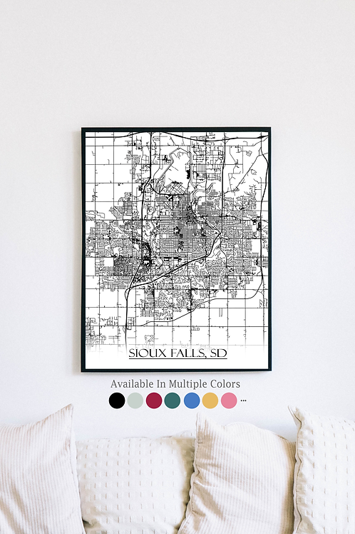Print of Sioux Falls, SD and all its roads
