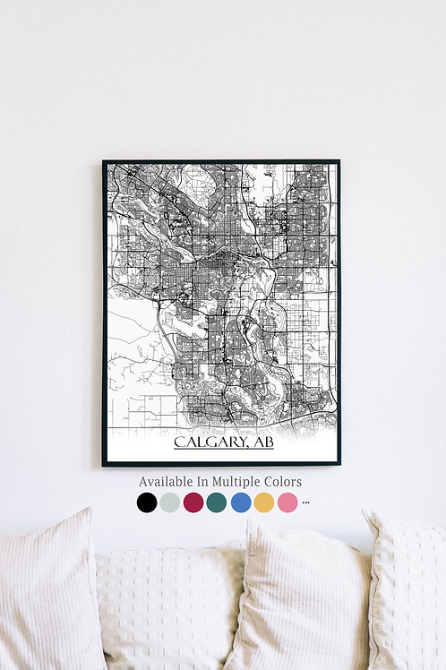 Print of Calgary and all its roads