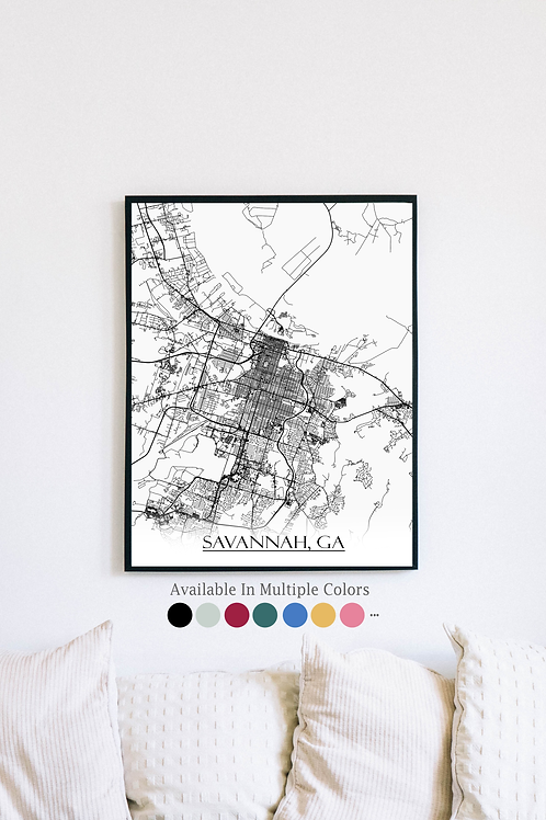Print of Savannah, GA and all its roads