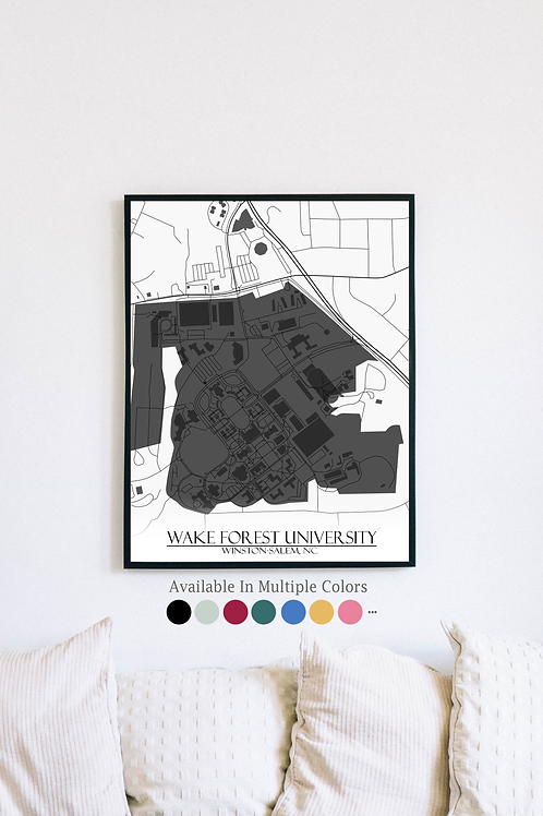 Print of Wake Forest University and all its roads