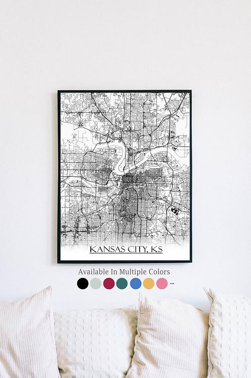 Print of Kansas City, KS and all its roads