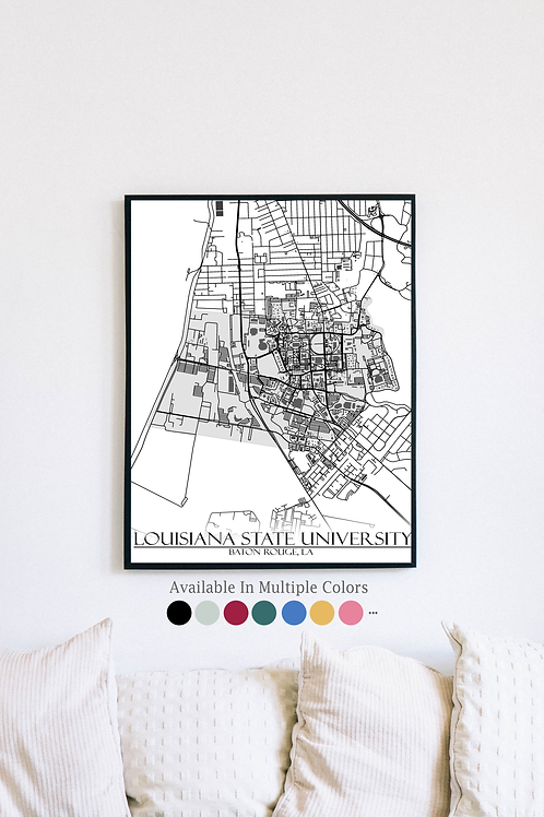 Print of Louisiana State University and all its roads