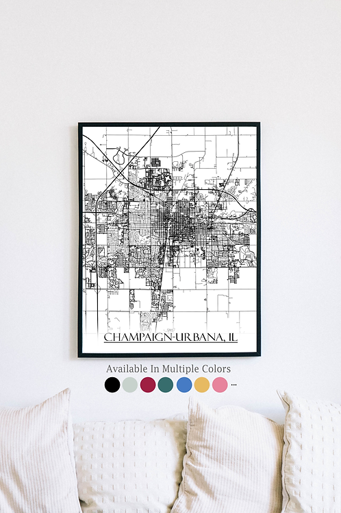 Print of Champaign-Urbana, IL and all its roads