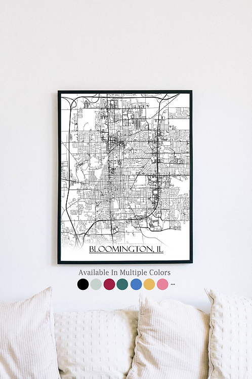 Print of Bloomington, IL and all its roads