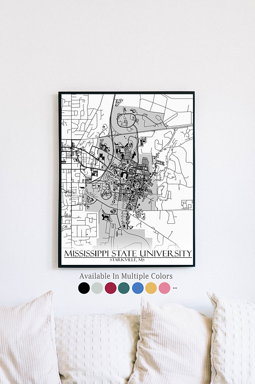 Print of Mississippi State University and all its roads