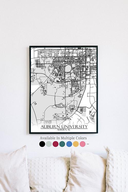 Print of Auburn University and all its roads