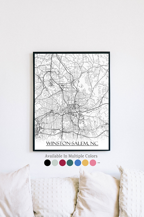 Print of Winston-Salem, NC and all its roads