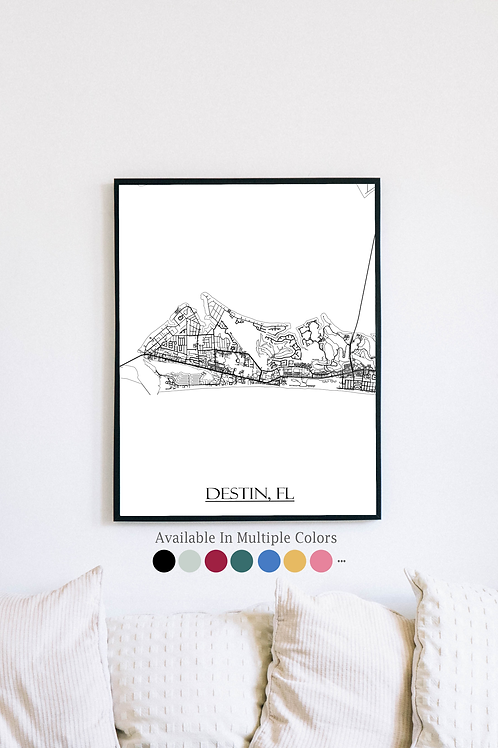 Print of Destin, FL and all its roads