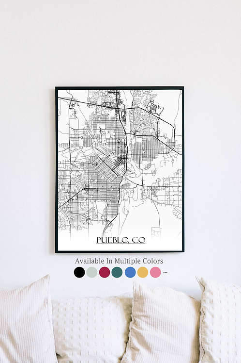 Print of Pueblo, CO and all its roads