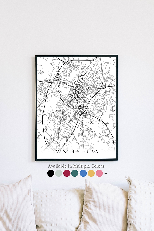 Print of Winchester, VA and all its roads