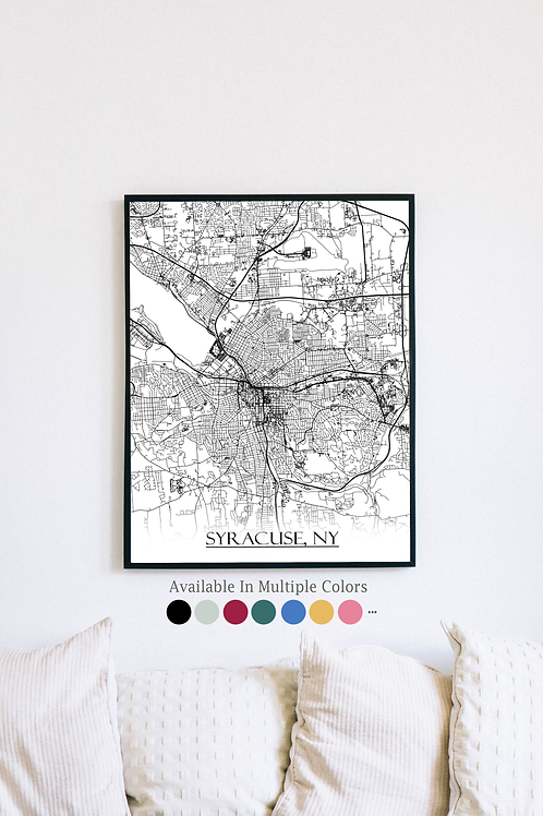 Print of Syracuse, NY and all its roads
