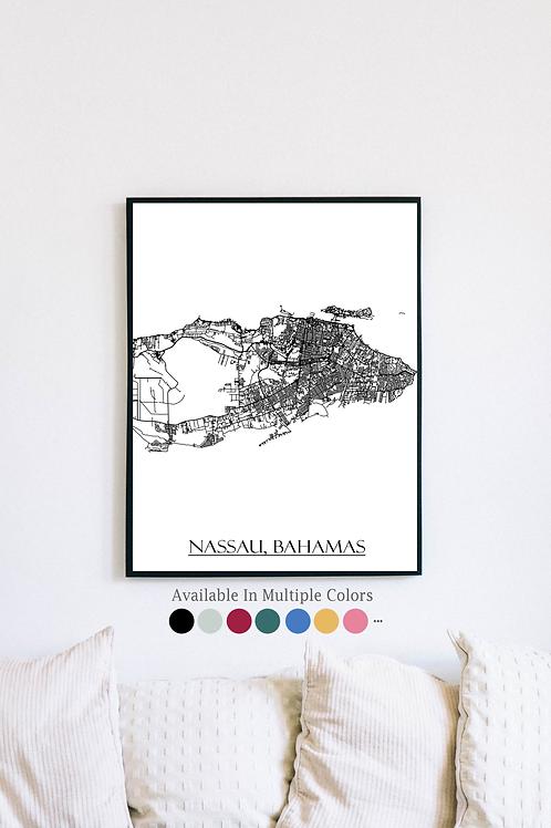 Print of Nassau, Bahamas and all its roads
