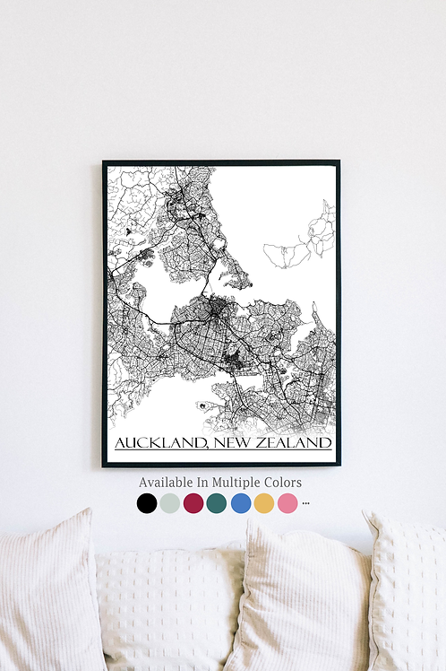 Print of Auckland, New Zealand and all its roads