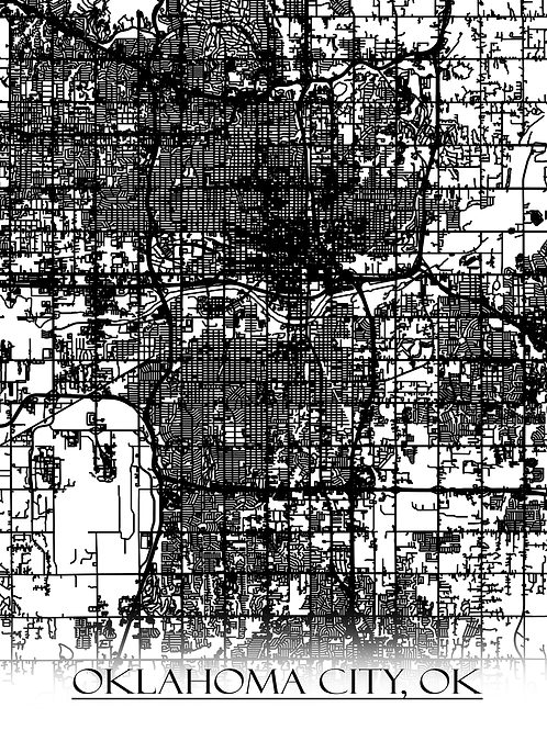 Print of Oklahoma City, OK and all its roads