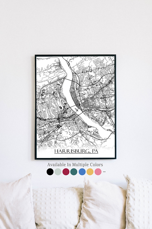 Print of Harrisburg, PA and all its roads