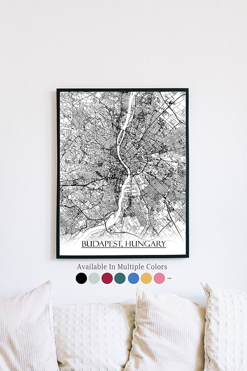 Print of Budapest, Hungary and all its roads