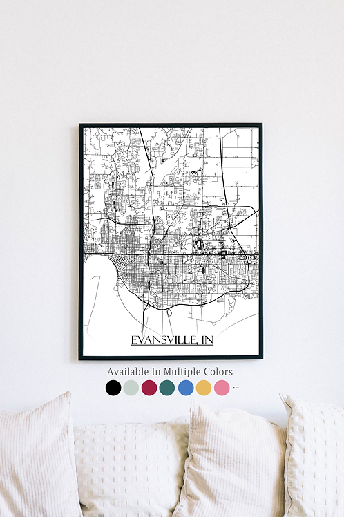 Print of Evansville, IN and all its roads