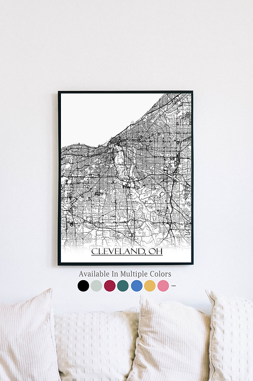 Print of Cleveland, OH and all its roads