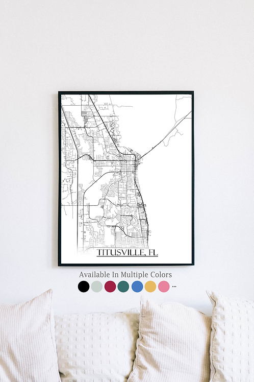 Print of Titusville, FL and all its roads