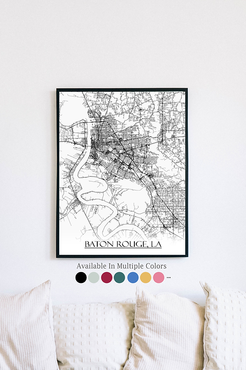 Print of Baton Rouge, LA and all its roads