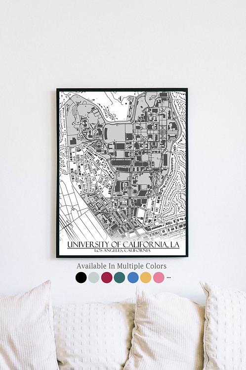 Print of [UCLA] University of California, LA and all its roads