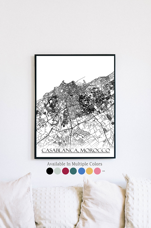 Print of Casablanca, Morocco and all its roads