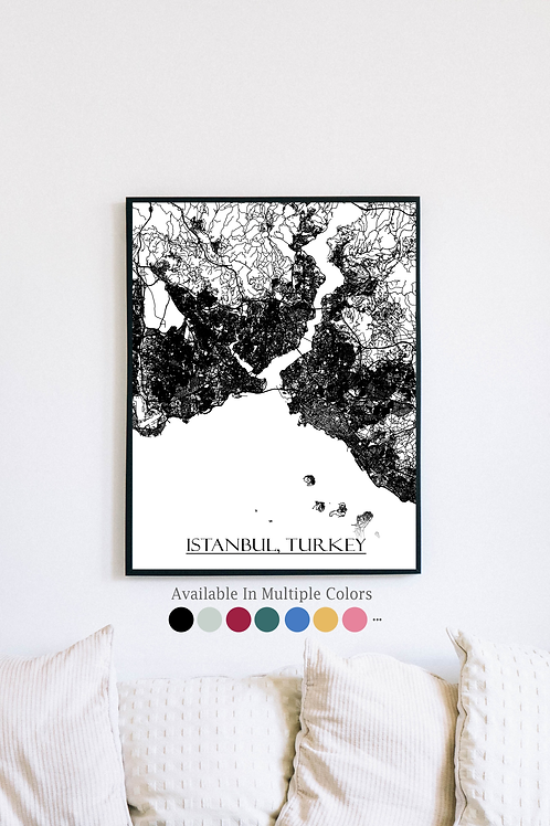 Print of Istanbul, Turkey and all its roads