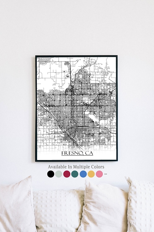 Print of Fresno, CA and all its roads