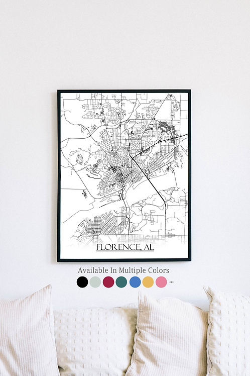 Print of Florence, AL and all its roads
