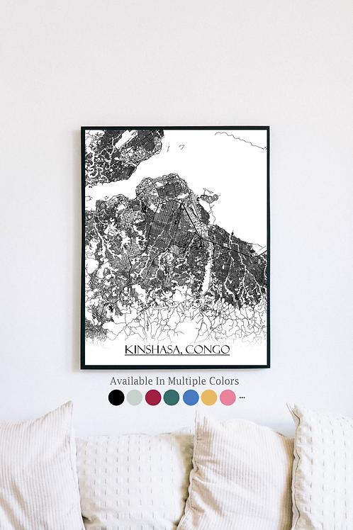 Print of Kinshasa, Congo and all its roads