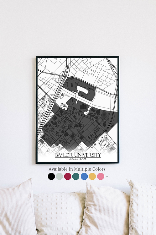 Print of Baylor University and all its roads