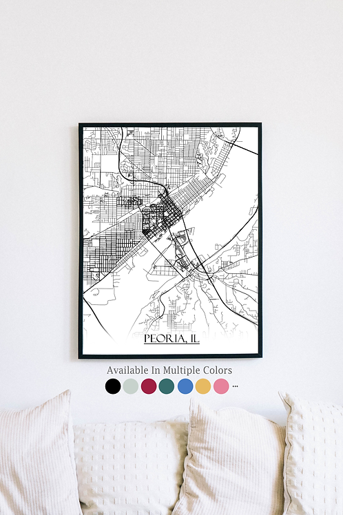 Print of Peoria, IL and all its roads