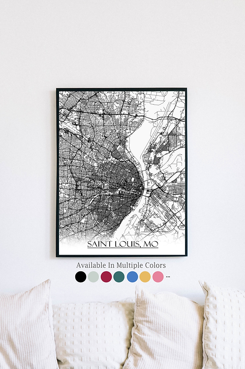 Print of Saint Louis, MO and all its roads