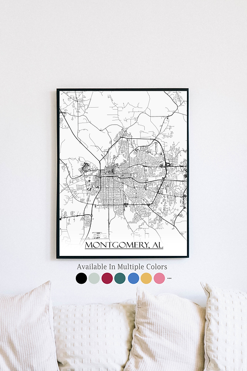 Print of Montgomery, AL and all its roads