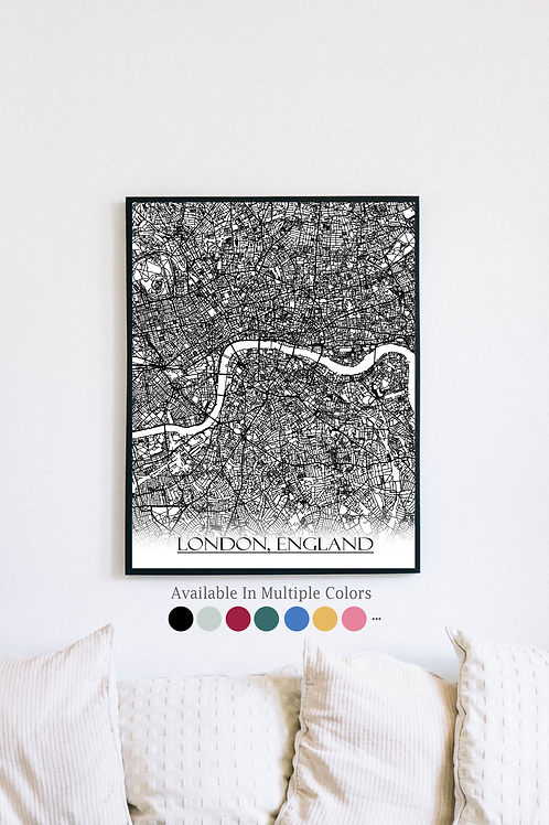 Print of London, England and all its roads