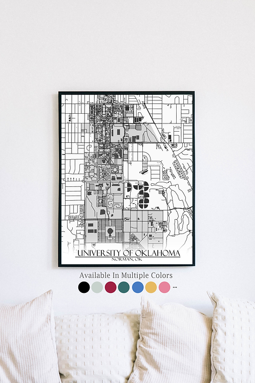 Print of University of Oklahoma and all its roads