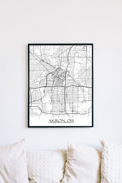 Print of Akron, OH and all its roads
