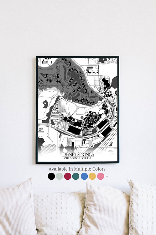 Print of Disney Springs and all its roads